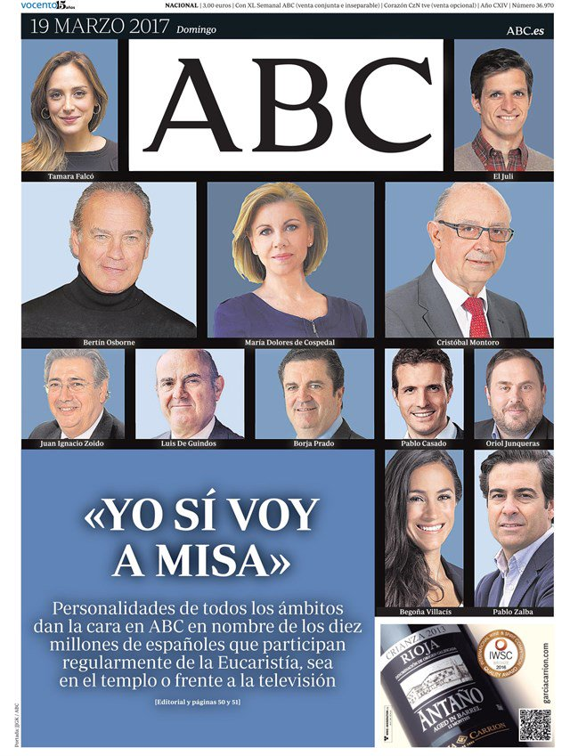 La portada de ABC ha roto todos los niveles de ridiculez hasta ahora, que ya era un decir #YoVoyAMisa https://t.co/khfC5tW04q