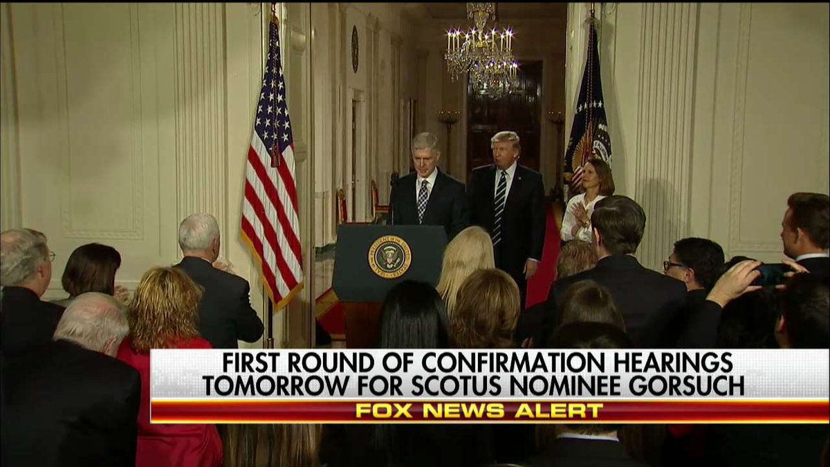 News Alert: First round of confirmation hearings tomorrow for SCOTUS nominee Gorsuch. https://t.co/KL3YXX2bMA