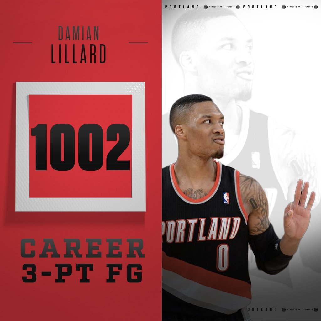Dame is now the only Blazer ever to make 1,000 threes https://t.co/RsAGK107F9