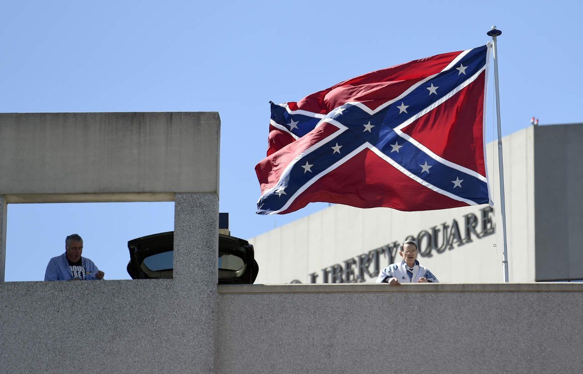 Confederate flag flies near arena where NCAA tournament games are being held