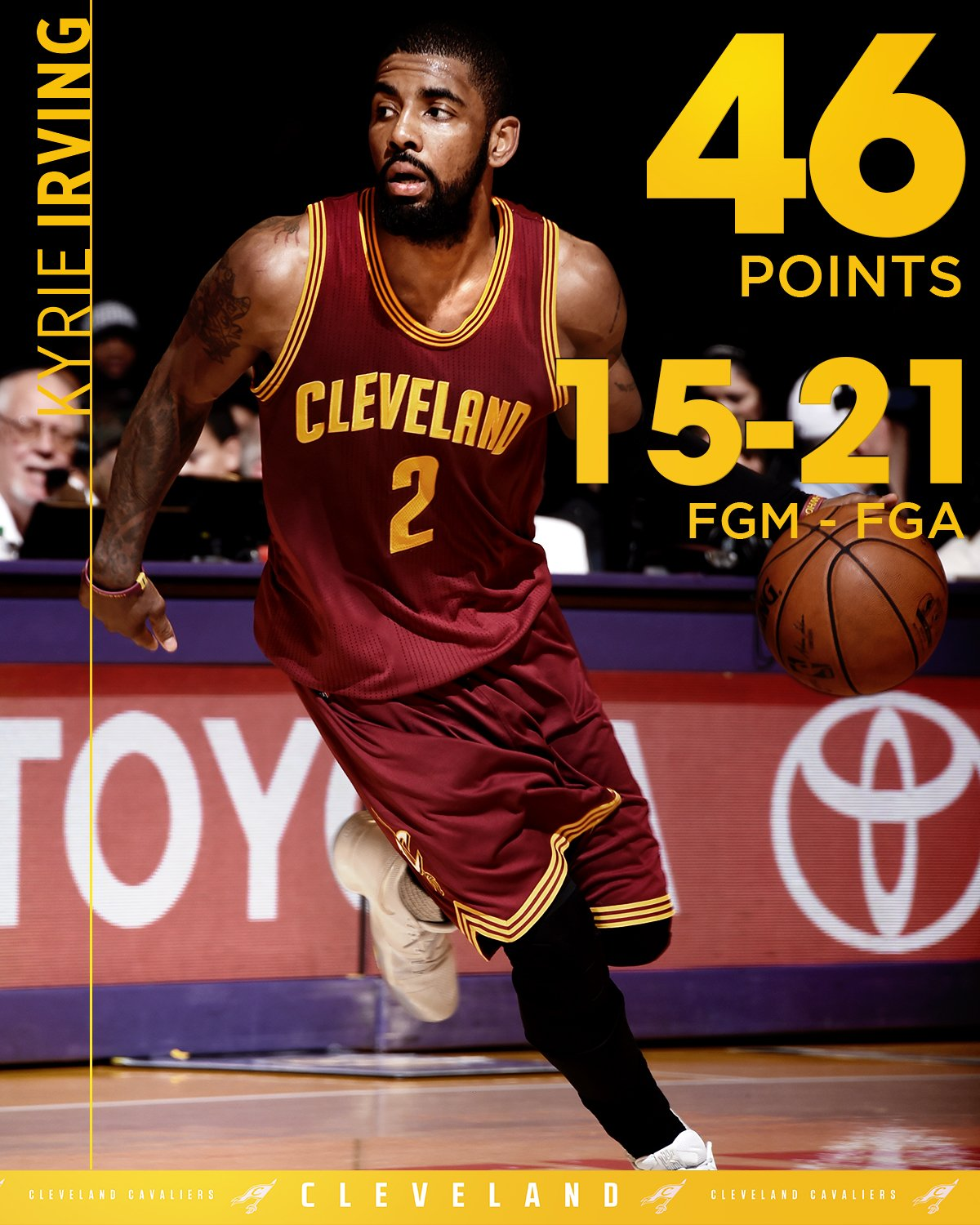 Kyrie had as many made threes as missed shots. ��  FORTY. SIX. �� https://t.co/JhmgSVgz6k