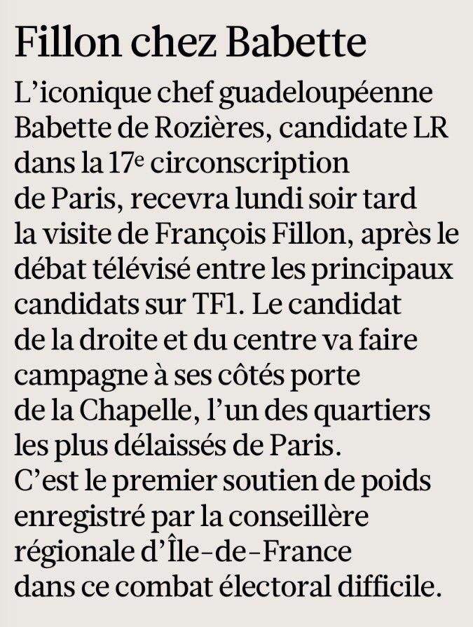 Ce soir, après #LeGrandDebat sur @TF1, @FrancoisFillon rendra visite à @BabetteDR (@Le_Figaro) https://t.co/UWTXmAy5vM