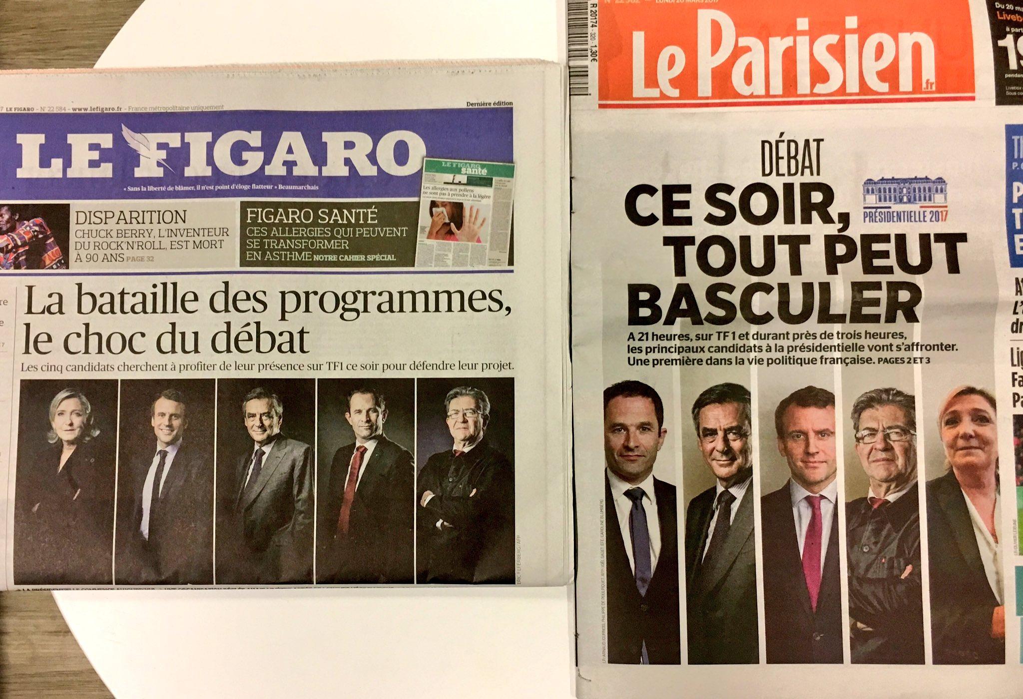 Le choix dans l'ordre des photos : Fillon au milieu pour le Fig, Macron pour le Parisien. #LeGrandDebat https://t.co/kskY5ABMAq