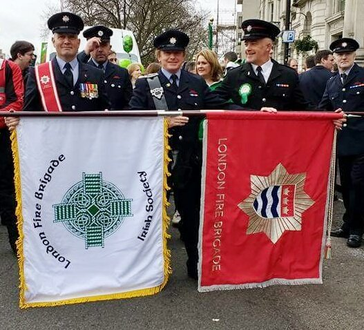 Firefighters & @LFBFireCadets joined #stpatricksdayparade in Central #London © Nigel Saunders