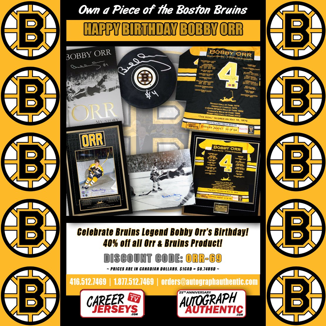 **HAPPY BIRTHDAY BOBBY ORR** Happy Birthday to a Hockey Legend! DISCOUNT CODE: ORR-69