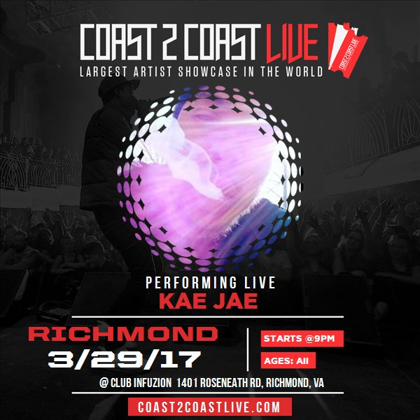 I'm performing at Richmond, VA All Ages Edition 3/29/17! For tickets: https://t.co/nDMxbwywds #Coast2Coast https://t.co/wkgGPEfjmX
