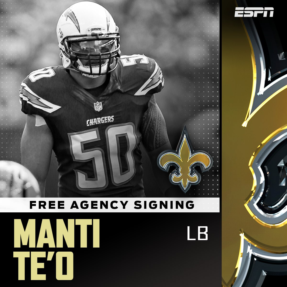 Former Chargers LB Manti Te'o is close to a deal with the Saints. (via @DanGrazianoESPN) https://t.co/u06L0krKfd https://t.co/YeqAjcPC3Q