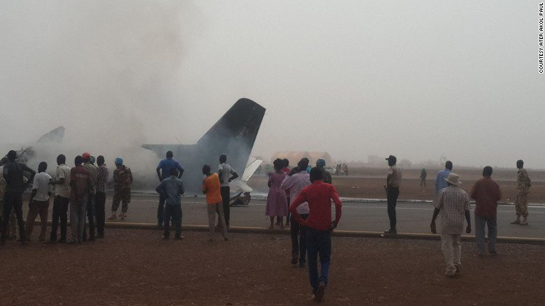 "All on board survive ""miraculous"" crash landing in poor weather at an airport in South Sudan"