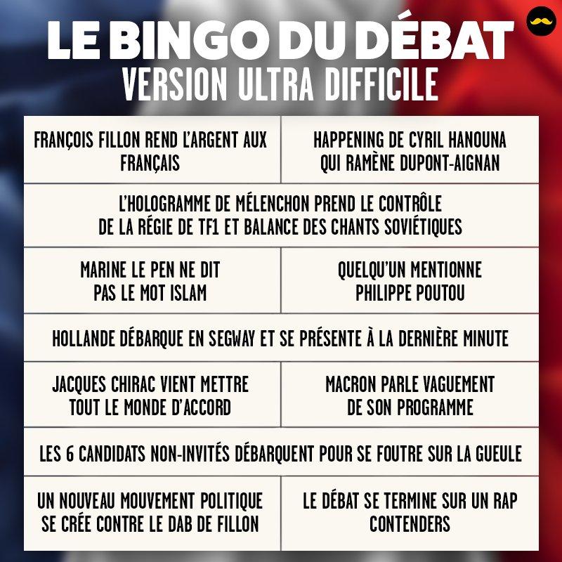 Pour le #DebatTF1 de ce soir, nos experts ont planché sur un bingo vraiment difficile. Le voici. Bon chance. https://t.co/ixhE9h59Pf