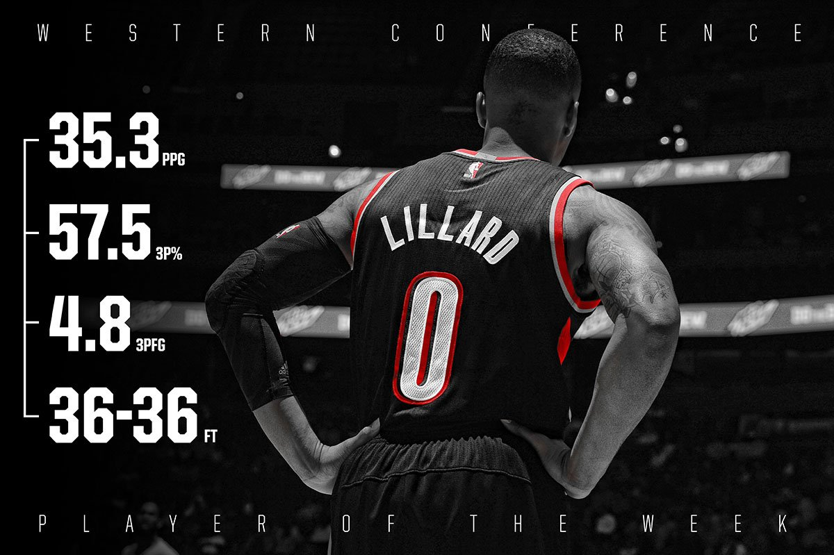 �� Damian Lillard, Western Conference Player of the Week ��  �� https://t.co/bjFdozTaSQ �� https://t.co/MpNuzO3EuE