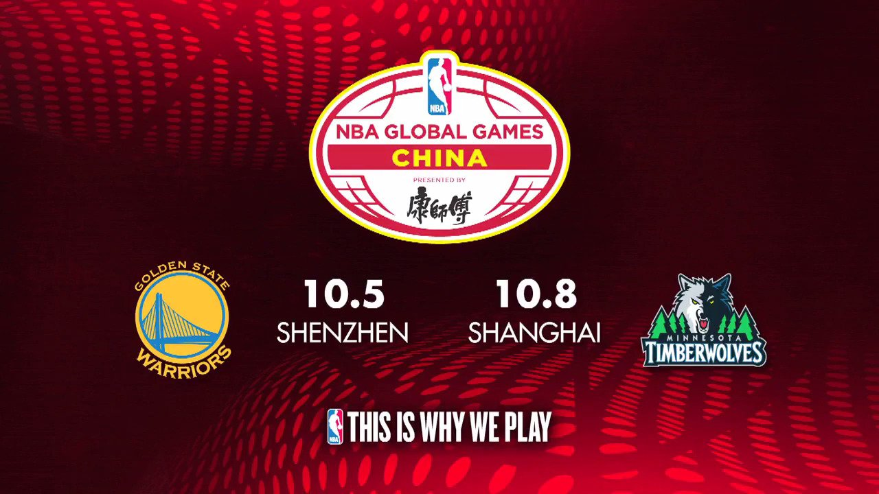 The @Warriors and @Timberwolves are headed to CHINA for the 2017 #NBAGlobalGames in October! https://t.co/TrvuJd7mW2 https://t.co/5jMGPczNCM