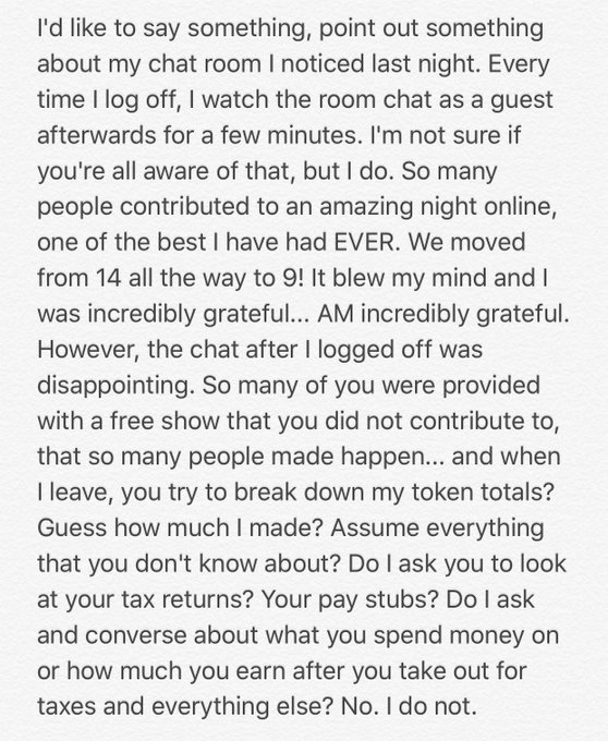 1 pic. Camgirls & Members can read this, not sure if I'm the only one who feels this way. https://t.