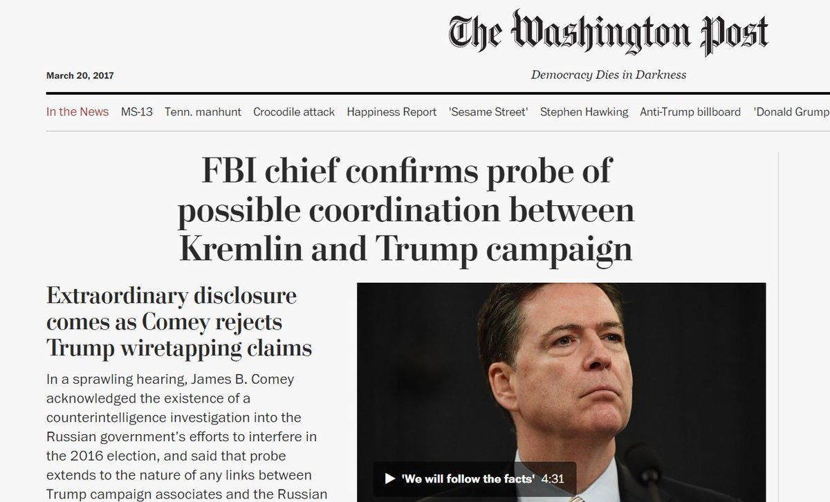 This headline from the @washingtonpost captures how extraordinary today's #ComeyHearing was. HISTORY IN THE MAKING.