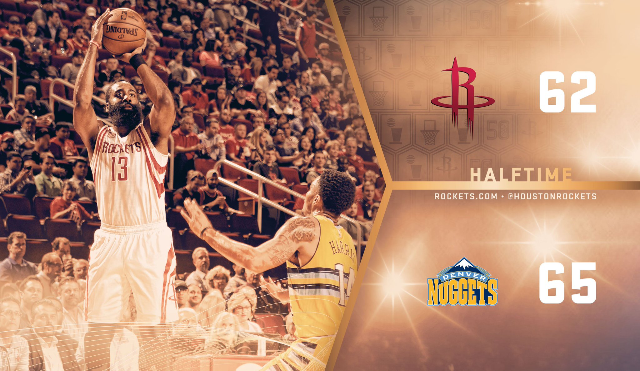 Halftime. #RocketsTakeOver  @JHarden13 with a team-high 20pts. https://t.co/cODmjrkU7K