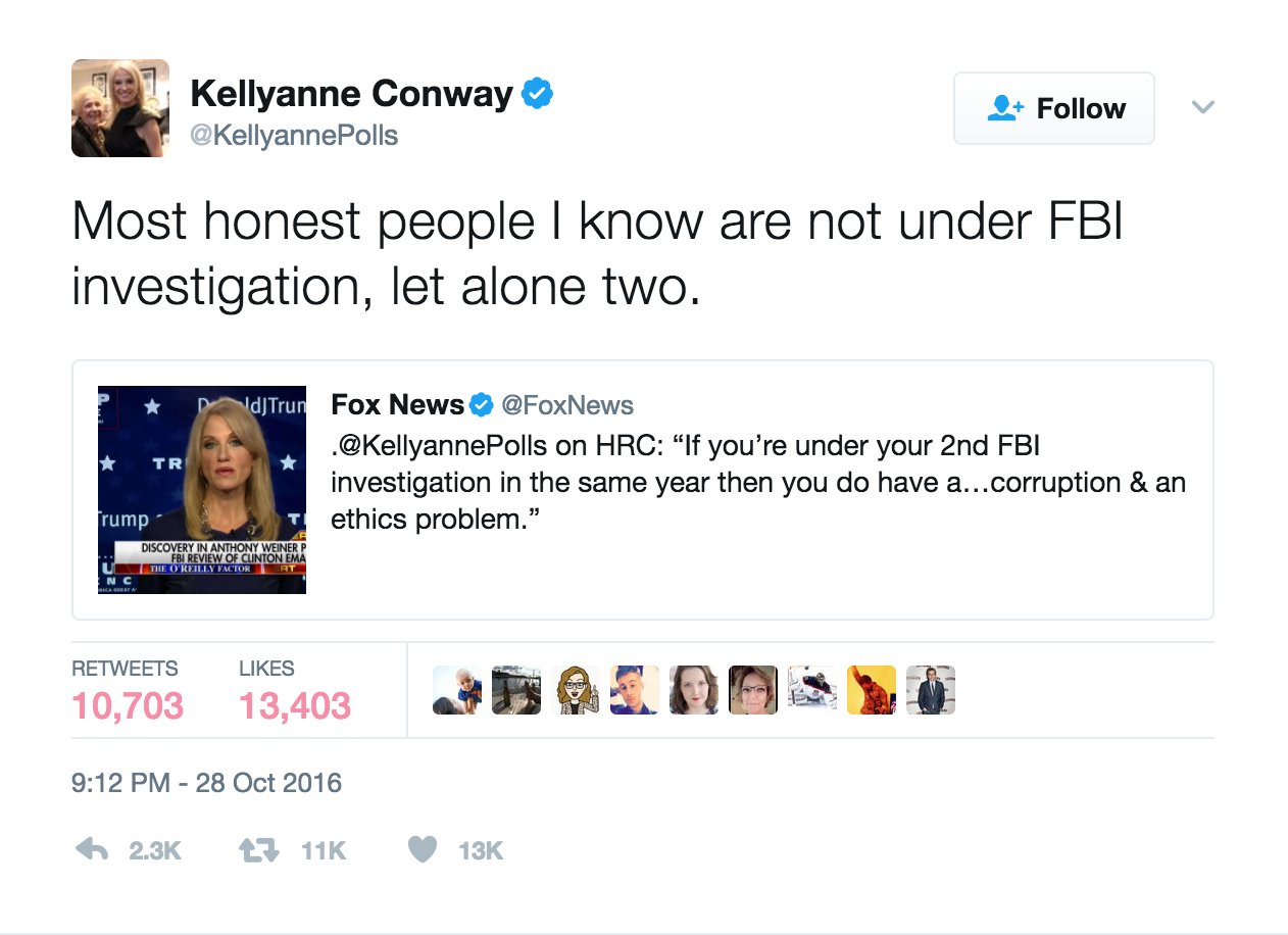 Social media trolls Conway over October tweet mocking Clinton's FBI investigation https://t.co/Gy3eLiq00o https://t.co/veIpY4clvx