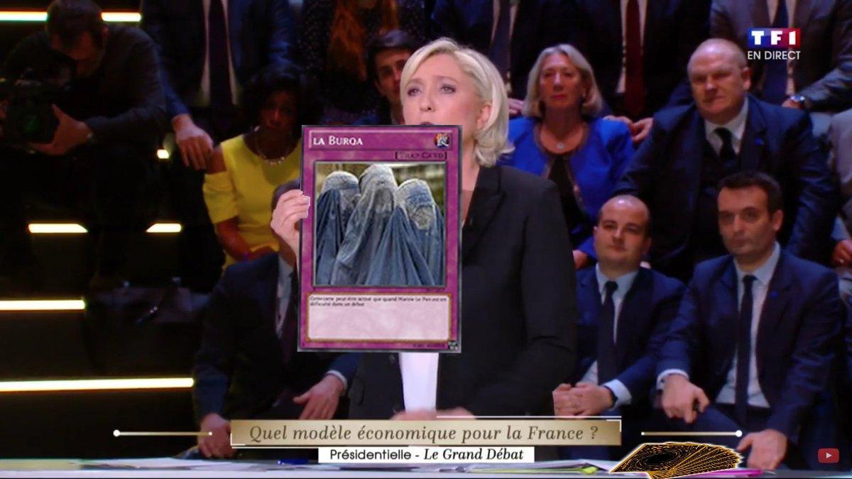 Marine Le Pen quand elle est en difficulté, elle sort immédiatement sa carte piège   #DébatTF1 #LeGrandDebat https://t.co/89nv5elYJ2