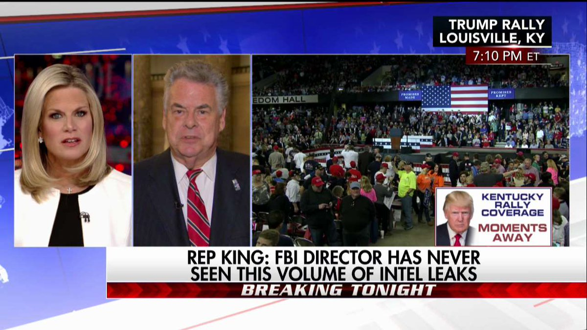 .@RepPeteKing @FBI director has never seen this volume of intel leaks. #First100