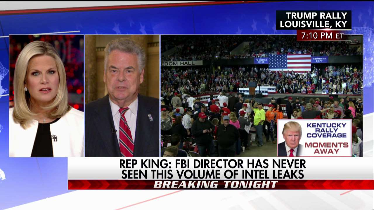 .@RepPeteKing: @FBI director has never seen this volume of intel leaks. #First100 https://t.co/ZqbkW6YnEc