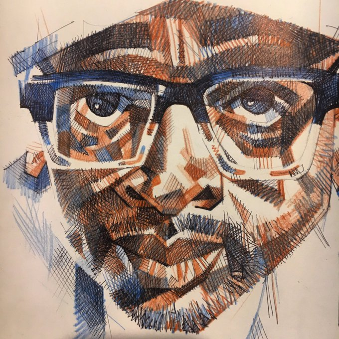 Happy birthday, Spike Lee. Ballpoint pen and colour pencil.