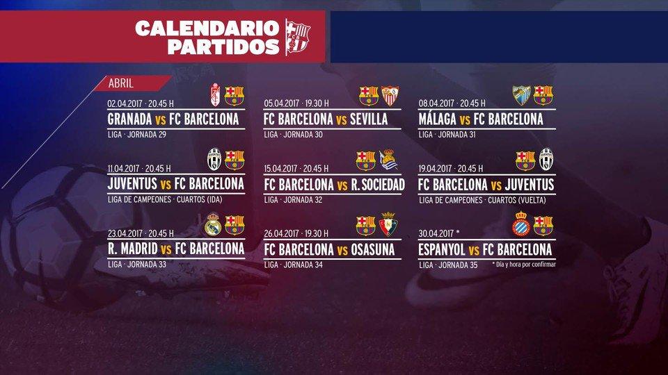 7 partidos de #LaLiga 2 de #UCL🗓 Los 9 partidos del mes de abril