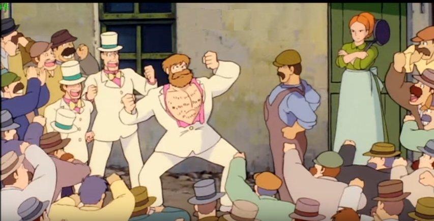 #見た目と名前のギャップがすごい『天空の城ラピュタ』の筋肉?で服を破く衝撃的なシーンで登場する、二人の筋肉モリモリな男性