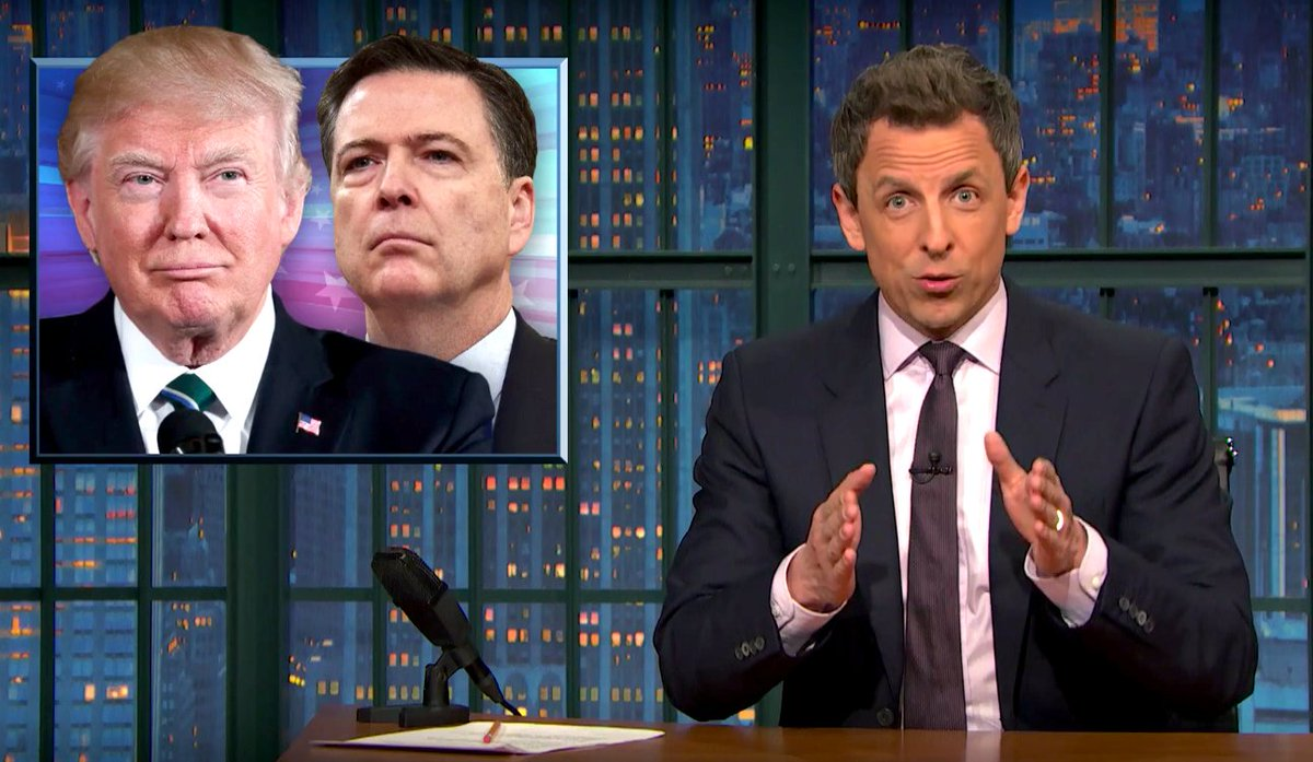 "Seth Meyers rips Trump's ""crazy"" tweets during #ComeyHearing"