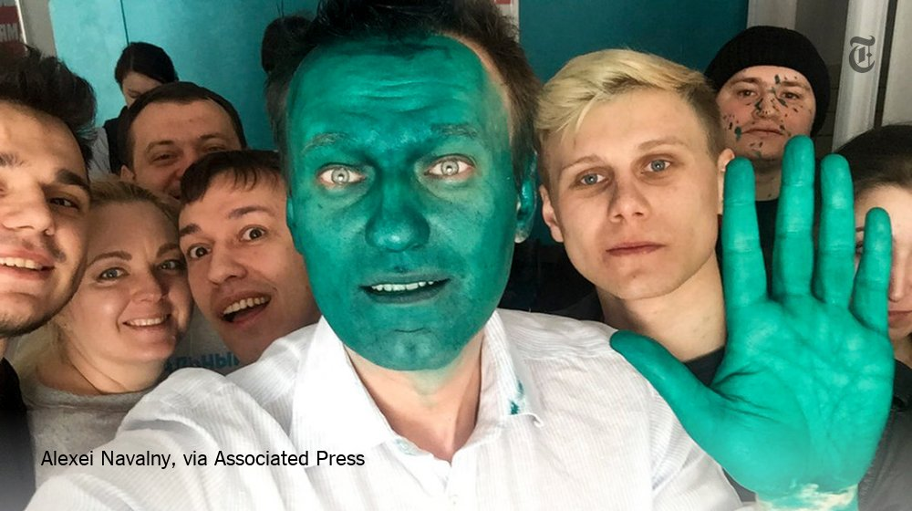 One of Putin's critics was doused in a green liquid. He made it work. https://t.co/LINRXEcLyT https://t.co/YJFORQ1Ree