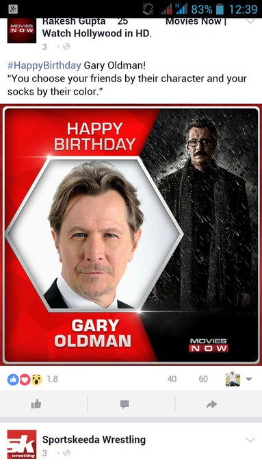 Happy birthday Gary Oldman! You choose your friends by their character and your socks by their color