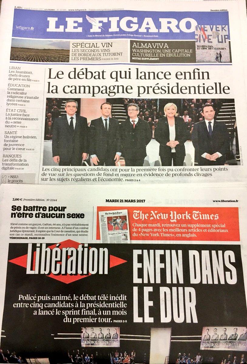 [Suffisamment rare pour être signalé]21 mars 2017, Le Fig & Libé ont l'air d'accord sur UN truc!(  lan#DebatTF1ce 'ENFIN' la présidentielle)