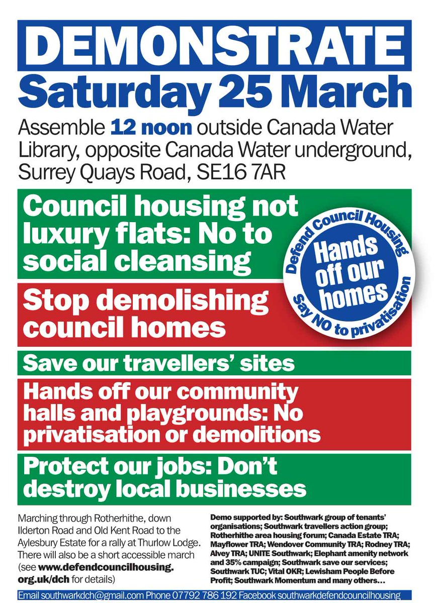 RT @bridgewithout: saturday 25/03, march against social cleansing and demolition of council homes in southwark https://t.co/REGyn5j6E5