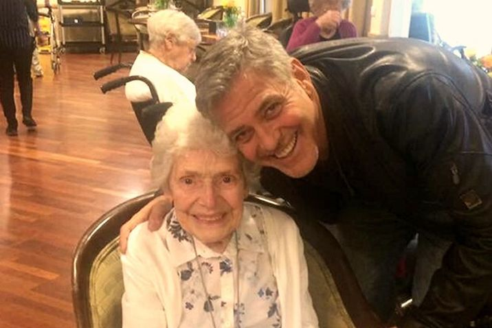 George Clooney visited 87-year-old super-fan Pat on her birthday and we're INSANELY