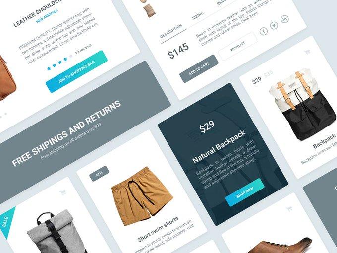 Visage UI Kit - Ecommerce   Ui kit by BubuDragos freebie