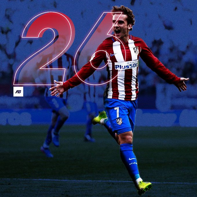 Happy 26th birthday to Atlético de Madrid\s Antoine Griezmann.
