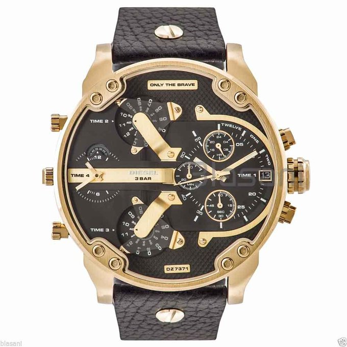 #free #fashion #watches #win #giveaway #np Diesel Original DZ7371 Mr Daddy 2.0 Black Leather Strap Chrono Watch 57mm #rt