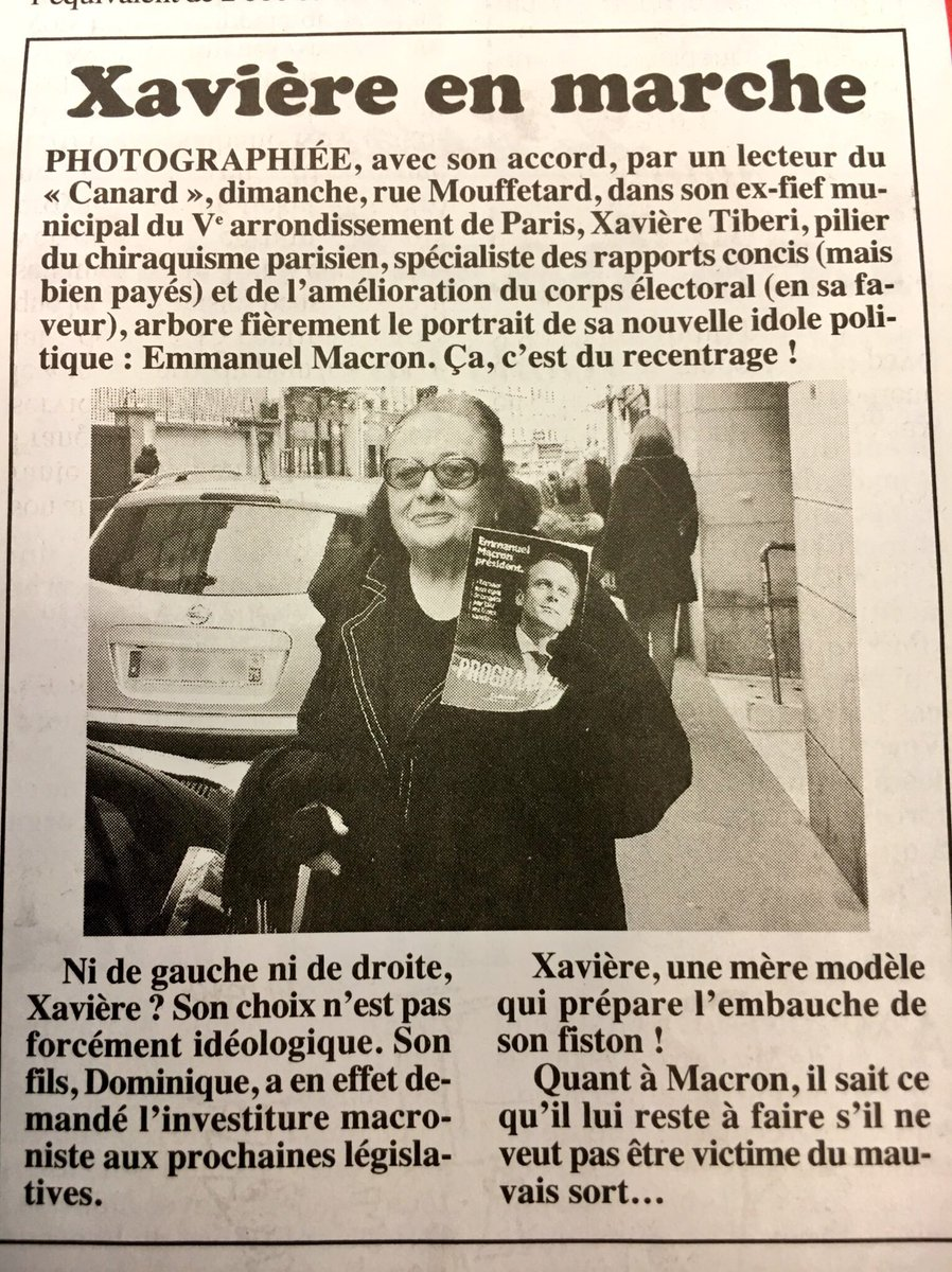Xavière Tiberi tractant pour Emmanuel Macron. (Canard Enchaîné)