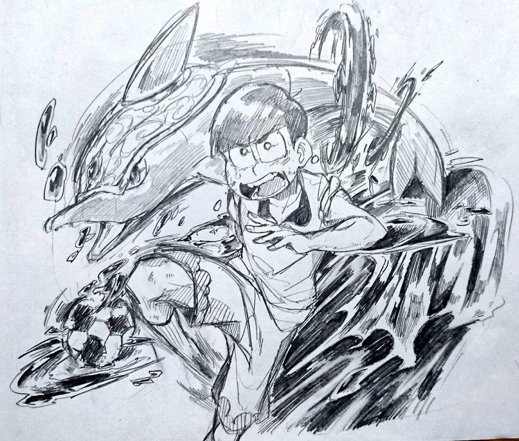 イナズマイレブンみたいなカラちゅん描きたかったんです後悔してない((((カラちゅんポジションDFでもいいと思ったけど、F