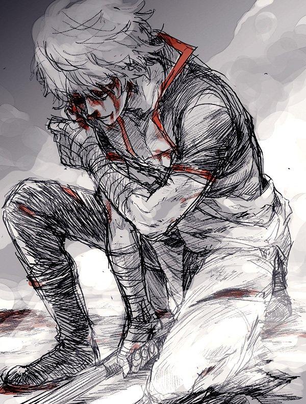 一番くじ引いて傷だらけ銀さんのフィギュアとってきた話をしてたら銀さん見たいと言ってもらったので描いた リハビリ