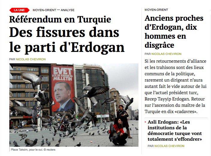 Référendum en Turquie: des fissures apparaissent dans le parti d'Erdogan. https://t.co/6i6HwggmIG