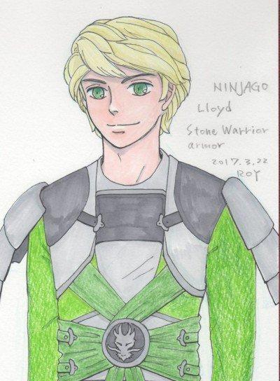 #ninjago  Lloyd Stone Warrior armor体幹の中央に集まるパーツが格好いいなと描き始めてみ