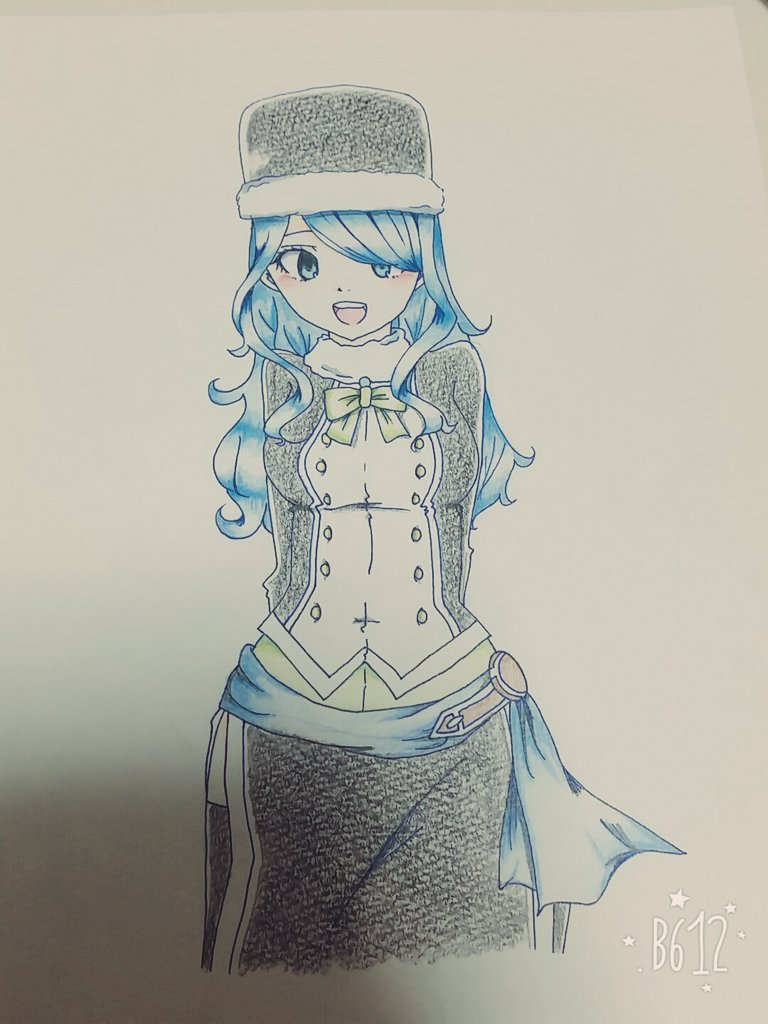 少し前に描いたジュビア(*´罒`*)コピックで塗る気力無かったから色鉛筆で塗った!!笑笑#フェアリーテイル#ジュビア#描