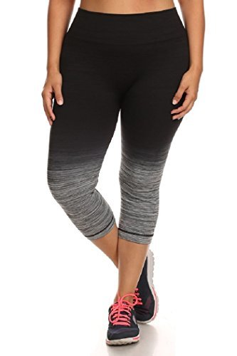 #fashion #free #style #win #giveaway Womens Plus Size Ombre Capri Activewear Leggings Athletic Pants Sport 1X/2X Black/Charcoal #rt