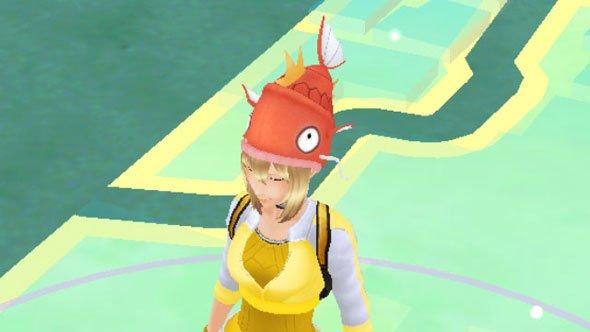 みずタイプ祭り開催! タダでもらえるポケモンGOの「コイキング帽子」をかぶってみた