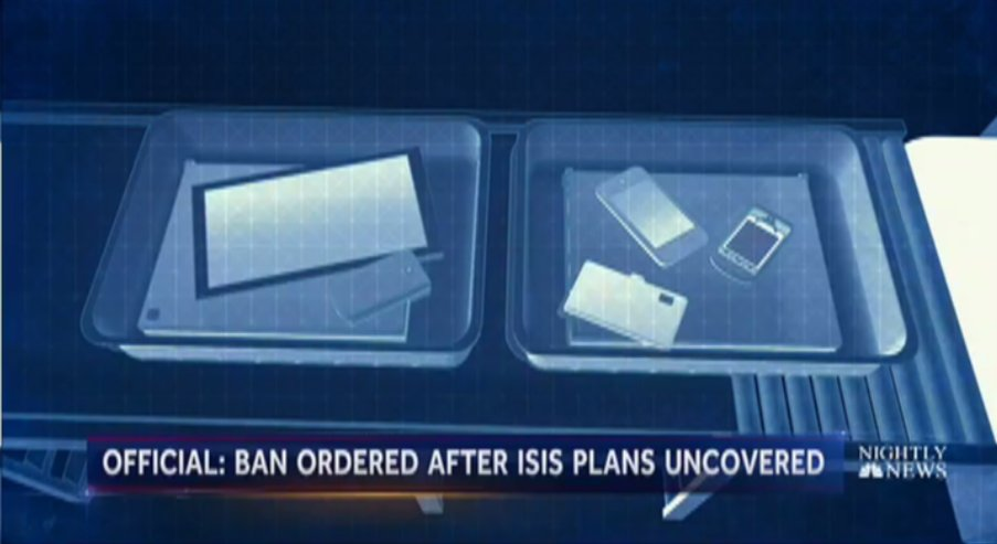 Sources: New ban for devices on flights from some foreign airports is result of ISIS plans.  @Miguelnbc reports now on @NBCNightlyNews.