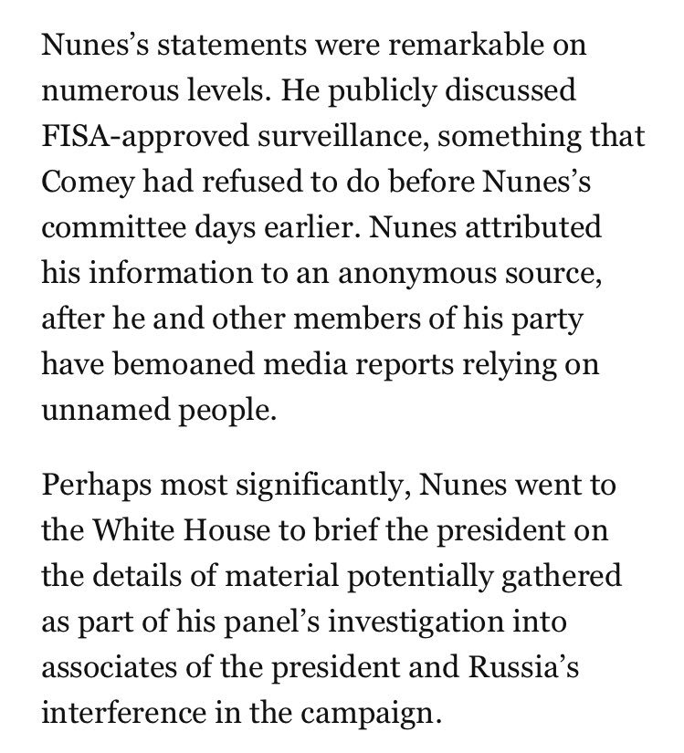 Feels like it's worth pausing to go back to just how remarkable Rep. Nunes's actions were today https://t.co/CnudPnKOqS