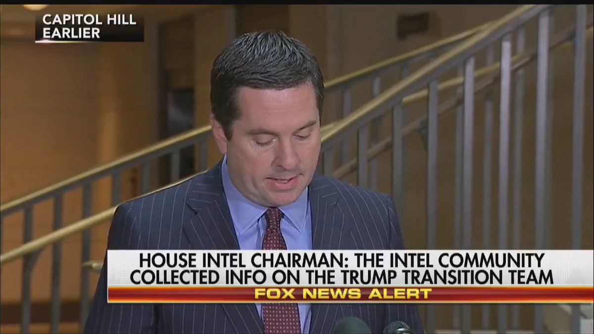 House Intel Chairman @DevinNunes: The intel community collected info on the #Trump transition team. #Hannity