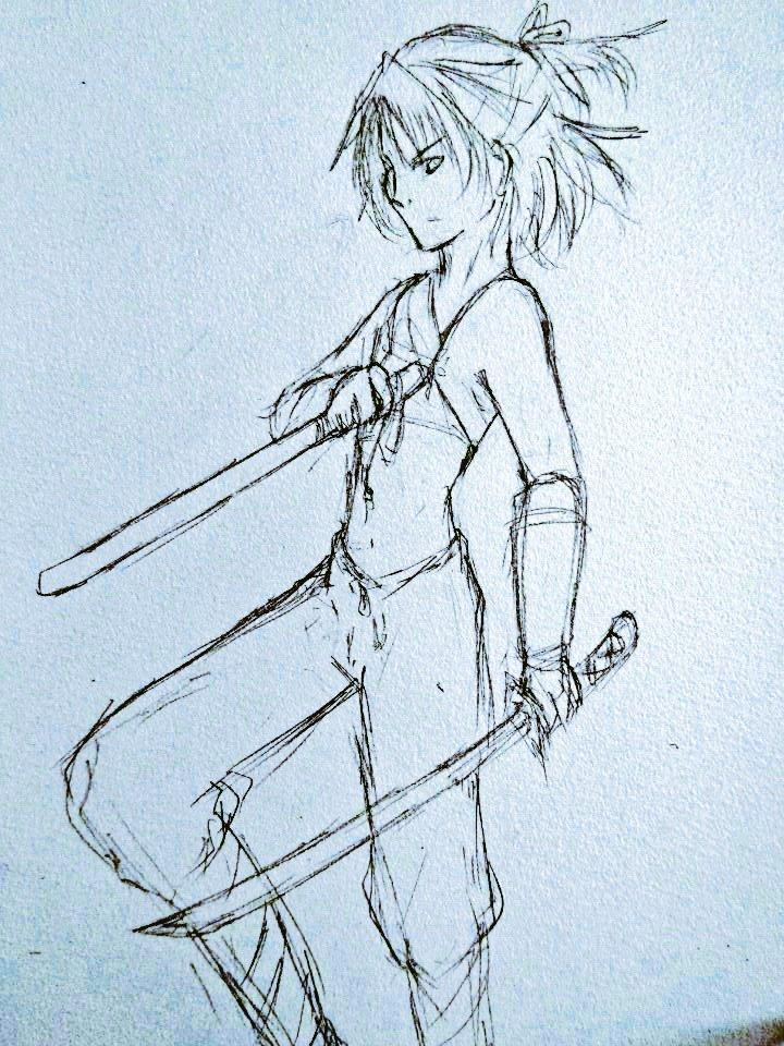 @follo_quest めちゃくちゃに雑ですがしかも性別反転ifの方ですがウィルナの鎧及び上着脱ぐとこんな感じかなぁ落書き。ヴェルアの時にもらってた案ほぼそのままなんすけどね…ちな左利きです(前回左腰に刀挿してましたけど…)