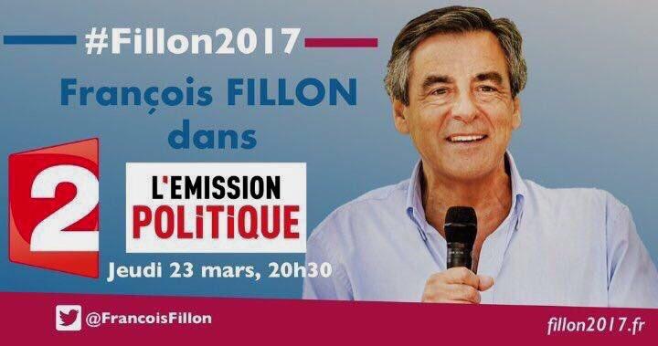 #Fillon2017 #FillonPresident #Presidentielle2017... @FrancoisFillon sera l'invité de #LEmissionPolitique ce soir à 20 h 55 sur @France2tv