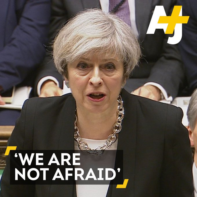Theresa May praised British citizens who went about their normal routine the day after the London attack.