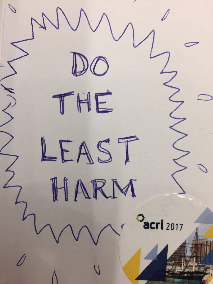 "test Twitter Media - #critlib in biz and prof. programs isn't necessarily ""do the most good"" but ""do the least harm."" Relevant to the humanities too! #acrl2017 https://t.co/gKDGV8hbeY"
