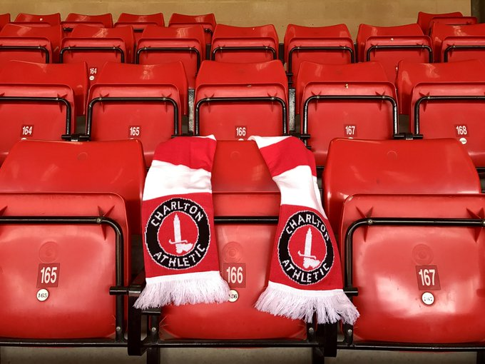 A scarf has been placed by Charlton Athletic on Seat 166 in the East Stand at The Valley - the seat of season-ticket holder PC Keith Palmer.